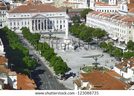 Lisbon, Portugal. View of the Rossio Square from the Santa Justa Lift