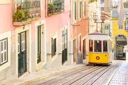 Lisbon's Gloria funicular classified in Bairro Alto in Lisbon, Portugal