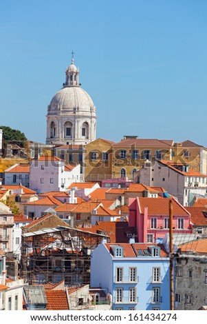 Lisbon, view of Alfam's region and Santa Engrassiya's (Pantheon) church. - stock photo