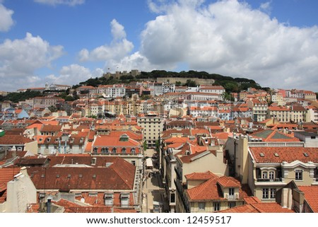 Lisbon View - Sao Jorge Castle and roofs of the old city