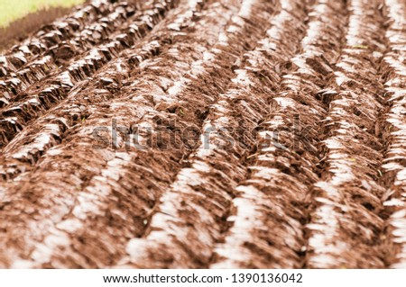 Lisburn, Northern Ireland. 10 Oct 2015 - Freshly ploughed field at the Northern Ireland Ploughing Association championships #1390136042