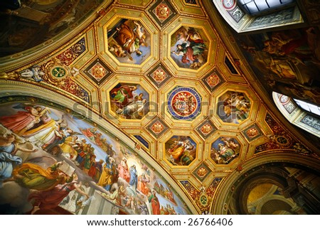 List of a ceiling and walls in one of halls of the Museum of Vatican