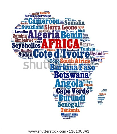 List of African Countries in word collage - stock photo