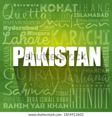 List of cities and towns in Pakistan, word cloud collage, business and travel concept background ストックフォト ©