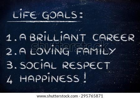 list of life goals: brilliant career, loving family, social respect, happiness