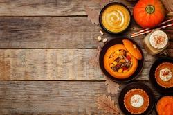 List of pumpkin dishes. Pumpkin Latte; Pumpkin stuffed with meat and vegetables; pumpkin tartlet; pumpkin soup; pumpkin puree. toning. selective focus