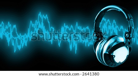 Listen To Music (+clipping path for easy placing your text behind the object if needed) - stock photo