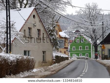 Listopad street in winter, Swieradow Zdroj resort,  northern slope of Jizera Mountains, Poland Zdjęcia stock ©