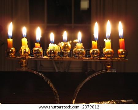 Lit Chanukah menorah on the 8th night.