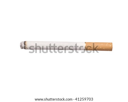 Lit cigarette isolated on a white background