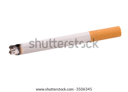 lit cigarette isolated over a white background - stock photo