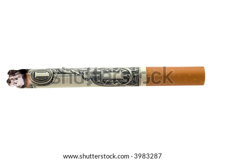 lit cigarette made from money isolated over a white background