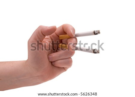 lit cigarettes in a woman's hand isolated over a white background