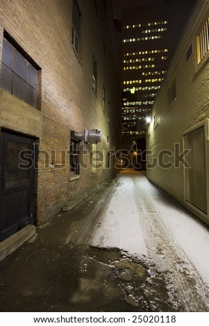 Lit City Alley At Night