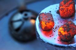 Lit coals for hookah, hookah tile, heat, fire, hot coals, hot hookah coals, Bowl with tobacco and coal