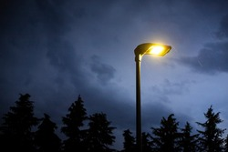 Lit street lamp at twilight, with yellow electric light, moody blue sky, trees silhouettes in the background and rain falling. Gloomy and spooky background with copy space on the left.