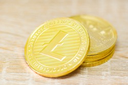 Litecoin coin crypto currency business, Gold litecoin finance, Golden LTC cryptocurrency trading virtual money stock market concept