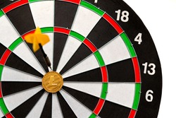 Litecoin cryptocurrency in the center of darts. Right on target.