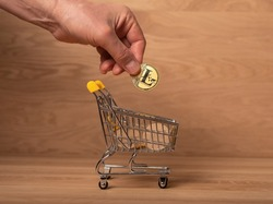 Litecoin golden coin in male hand, putting it into shopping basket full of crypto currency. LTC payments and investment