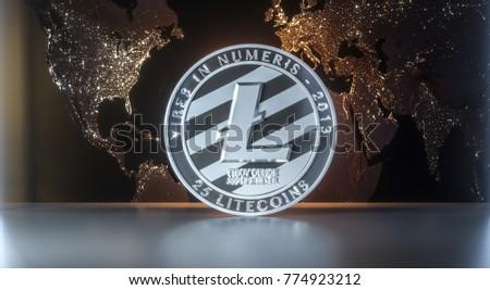 Litecoin - lite coin LTC  cryptocurrency on dark background