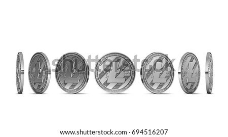 Litecoin shown from seven angles isolated on white background. Easy to cut out and use particular coin angle. 3D rendering
