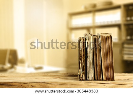 literature on desk and office interior