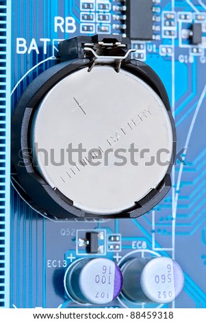 Lithium battery on the computer motherboard