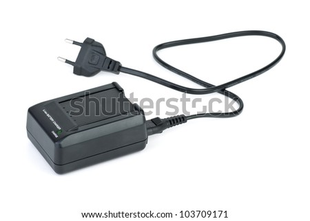 Lithium-ion battery inserted in charger  isolated on the white background