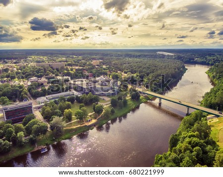 Shutterstock Lithuania, Baltic States: aerial UAV view of Druskininkai, a spa town on the Nemunas river