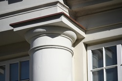 Lithuania, Kaunas, architectural details of a historical building