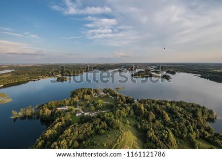 Lithuania top travel destination aerial photo - Lithuanian lakes in Trakai birds eye view Stock fotó ©