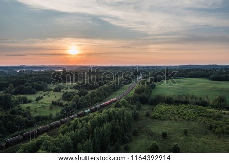 Lithuania top travel destination aerial photo - Lithuanian landscapes with trains birds eye view Stock fotó ©