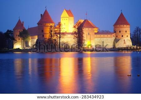 Lithuania, Trakai - November 17, 2014: Trakai Castle at night - Island castle in Trakai is a museum and a cultural center.