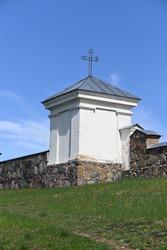 Lithuania, Vidiškė, fragment of the facade of the Catholic Church