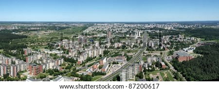 Lithuanian capital Vilnius city panoramic view from TV tower.