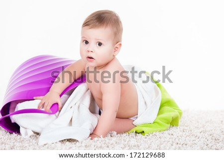 Littel Boy with Laundry Basket on white. Adorable kid, love and happiness concept.