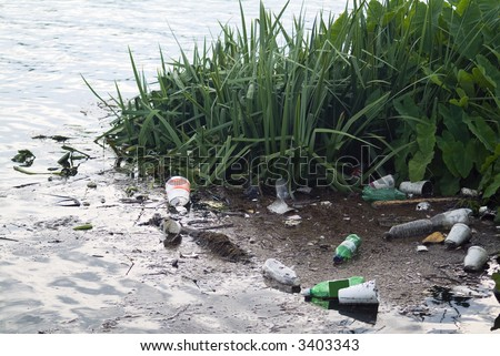 Litter from runoff after a big rainstorm polluting the river.