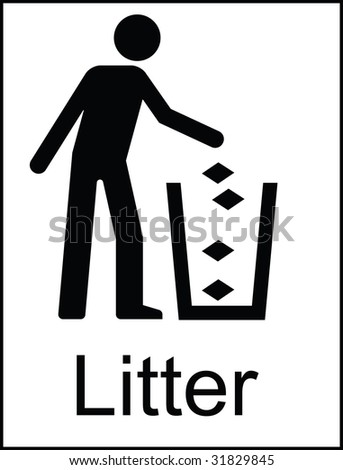 Litter Public Information Sign - stock photo