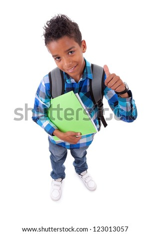 Little african american boy making thumbs up sign, isolated on white background
