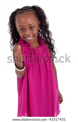 Little african american girl  making thumbs up, isolated on white background