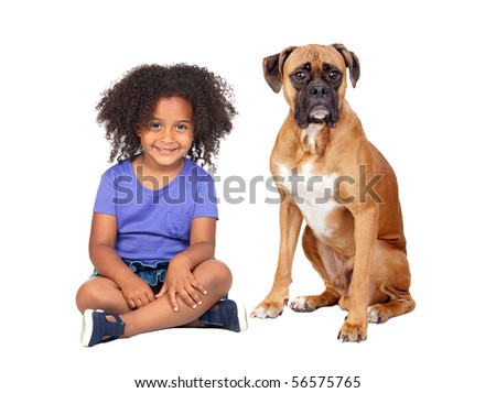 Little African girl and her dog isolated on white background