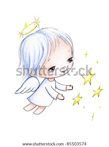 little angel flying with stars on white background - stock photo