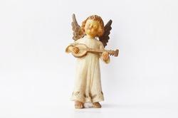 Little angel play mandolin musical instrument figure