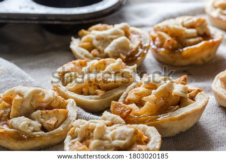 Little apple pies with cinnamon and dough decoration - apple tartlets close up with selective focus