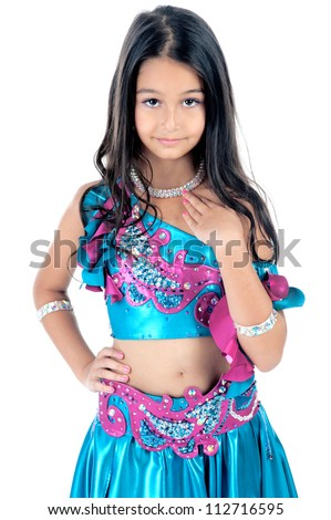 Little arabic belly-dancer - stock photo