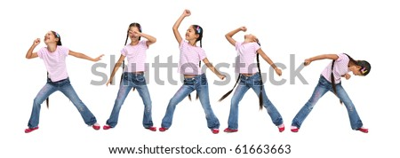 Little Asian beautiful girl dancing and imagines that sings. Happy girl karaoke isolated on white background.