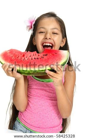 Little Asian girl enjoing a water-melon - Portrait on white