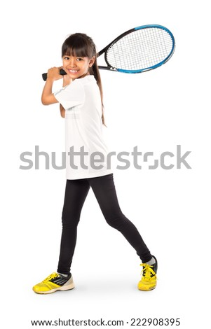 Little asian girl holding tennis racket Isolated over white