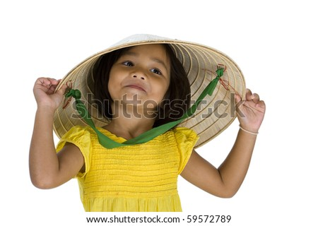 little asian uptown girl with vietnamese style hat, isolated on white background