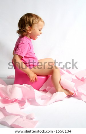 Little baby and pink potty